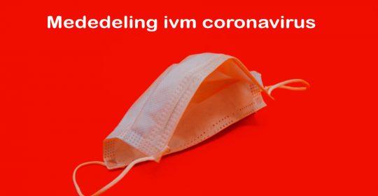 Mededeling ivm Coronavirus